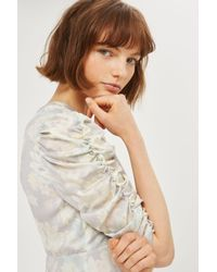 TOPSHOP - Gray Transparent Floral Print Midi Shift Dress - Lyst