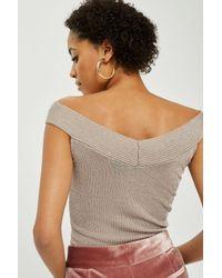TOPSHOP - Multicolor Petite Off The Shoulder Sweater - Lyst
