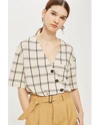 TOPSHOP - White Check Asymmetric Shirt - Lyst