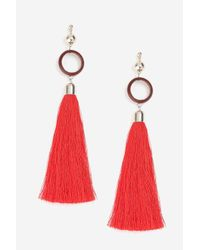 TOPSHOP - Red Circle And Tassel Drop Earrings - Lyst