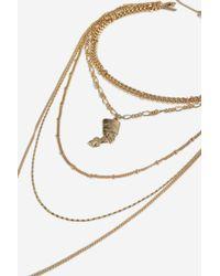 TOPSHOP - Metallic Multi-chain Necklace - Lyst