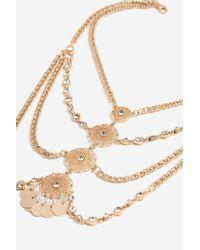 TOPSHOP - Metallic Antique Look Collar Necklace - Lyst