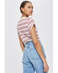 TOPSHOP - Multicolor Striped Roll Sleeve T-shirt - Lyst