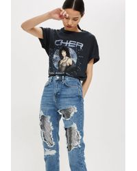 TOPSHOP - Blue Moto Chain Mail Mom Jeans - Lyst