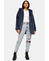 TOPSHOP Idnight Blue Faux Fur Hooded Coat
