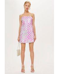 57f37e3846 Lyst - TOPSHOP Sequin Mini Slip Dress in Pink