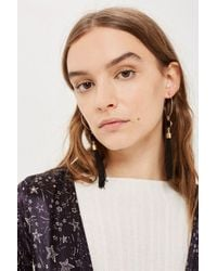 TOPSHOP - Black Hoop And Tassel Earrings - Lyst