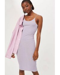 TOPSHOP Purple Ribbed Body-con Midi Dress