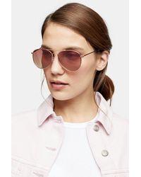 TOPSHOP Ally Pink Pilot Mirror Sunglasses