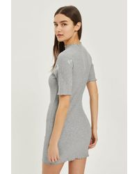 TOPSHOP - Gray Embroidered Floral Bodycon Dress - Lyst