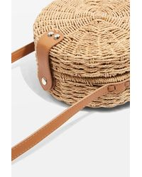 TOPSHOP - Natural Barbar Straw Circle Cross Body Bag - Lyst