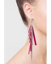 TOPSHOP - Pink Rhinestone Cascade Drop Earrings - Lyst
