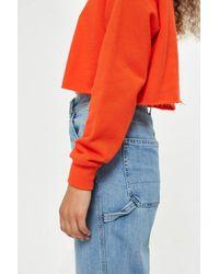 TOPSHOP - Orange Petite Crop Sweatshirt - Lyst