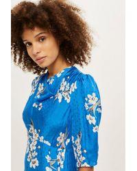 TOPSHOP Blue Floral Print Jacquard Midi Skater Dress