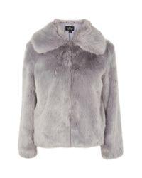 TOPSHOP - Gray Tall Faux Fur Coat - Lyst