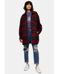 TOPSHOP Red And Blue Check Longline Jacket With Wool