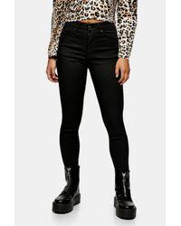 TOPSHOP Petite Black Coated Jamie Skinny Jeans