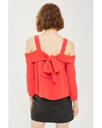 TOPSHOP | Red Tie Back Bardot Blouse | Lyst