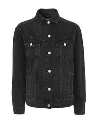 TOPSHOP - Black Moto Seam Oversized Jacket - Lyst