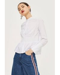 TOPSHOP - White Smocking Detail Shirt - Lyst