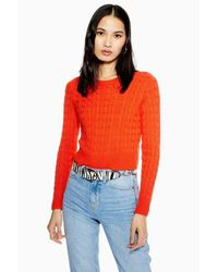 TOPSHOP Red Cable Crop Jumper With Cashmere