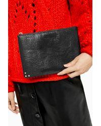 Pochette zippée noire Perla TOPSHOP en coloris Black