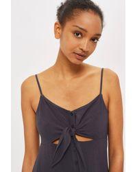 TOPSHOP - Multicolor Petite Knot Front Mini Dress - Lyst