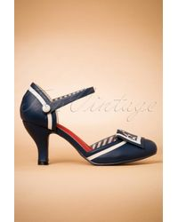 Banned Retro 40s Mary Jane Beaufort Spice Pumps in het Blue