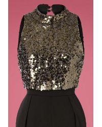 Little Mistress 60s Blaire Sequin Jumpsuit in het Black