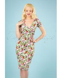 vintage chic for topvintage 50s Kristy Vintage Bouquet Pencil Dress in het Multicolor