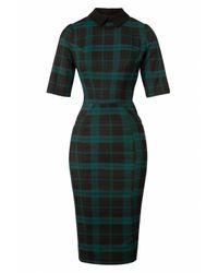 Collectif Clothing 50s Winona Slither Check Pencil Dress in het Multicolor