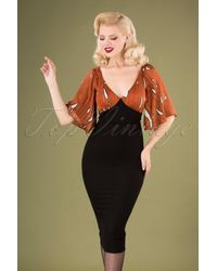 Traffic People 70s Wiggle And Smile Dress in het Black