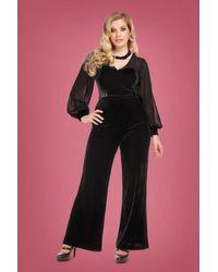 Collectif Clothing 50s Arionna Velvet Jumpsuit in het Black
