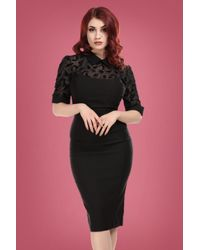 Collectif Clothing 50s Wednesday Magic Mesh Pencil Dress in het Black