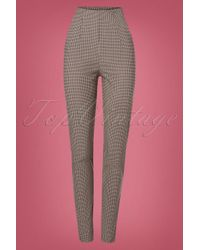 Miss Candyfloss 50s Kaity High Waist Check Pants in het Natural
