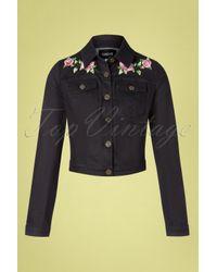 Collectif Clothing 50s Becca Rose Denim Jacket in het Black