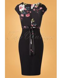 Stop Staring! 50s Skyla Floral Pencil Dress in het Black
