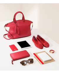 Tory Burch - Red Thea Multi-gusset Zip Continental Wallet - Lyst