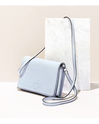 Tory Burch - Gray Thea Flat Wallet Cross-body - Lyst
