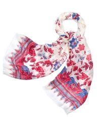 Tory Burch | White Floral Batik-print Scarf | Lyst