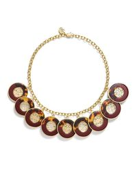 Tory Burch | Red Perforated Charm Resin Statement Necklace | Lyst