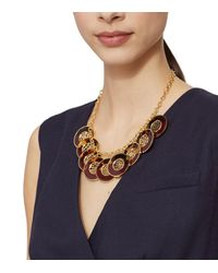 Tory Burch - Red Perforated Charm Resin Statement Necklace - Lyst