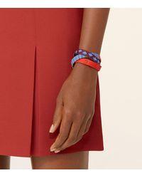 Tory Burch - Blue Triple-wrap Leather Stitched Bracelet - Lyst