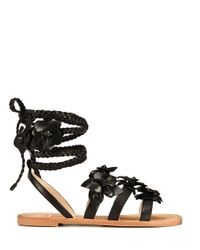 Tory Burch - Black Blossom Leather Gladiator Sandals - Lyst
