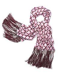 Tory Burch Pink Signature Print Silk Oblong Scarf
