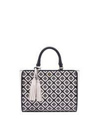 Tory Burch | Black Robinson Woven-leather Small Zip Tote | Lyst