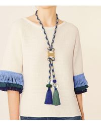 Tory Burch - Blue Long Gemini-link Rope Necklace - Lyst