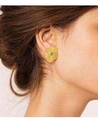 Tory Burch - Metallic Flower Petal Stud Earring - Lyst