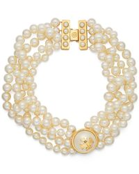 Tory Burch | Metallic Crystal Pearl Statement Necklace | Lyst