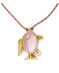 Tory Burch - Metallic Fish Pendant Necklace - Lyst